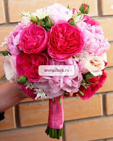 Свадебный букет из пионов и пионовидных роз Клубника со сливками